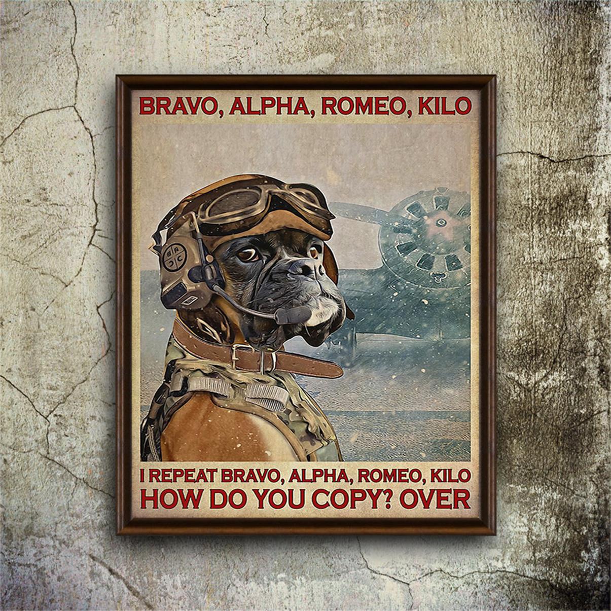Boxer pilot bravo alpha romeo kilo poster A1