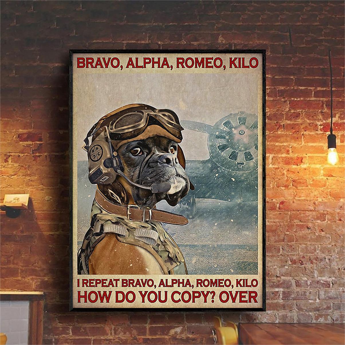 Boxer pilot bravo alpha romeo kilo poster A2