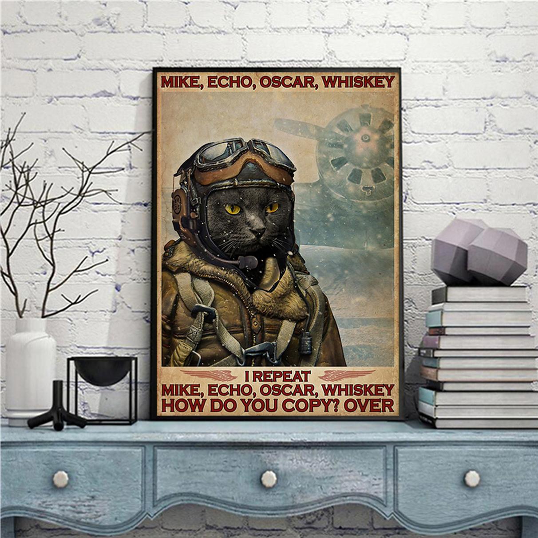 Cat pilot mike echo oscar whiskey poster A1