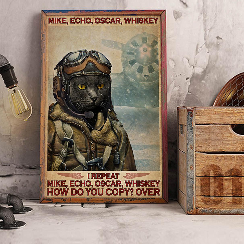 Cat pilot mike echo oscar whiskey poster A2
