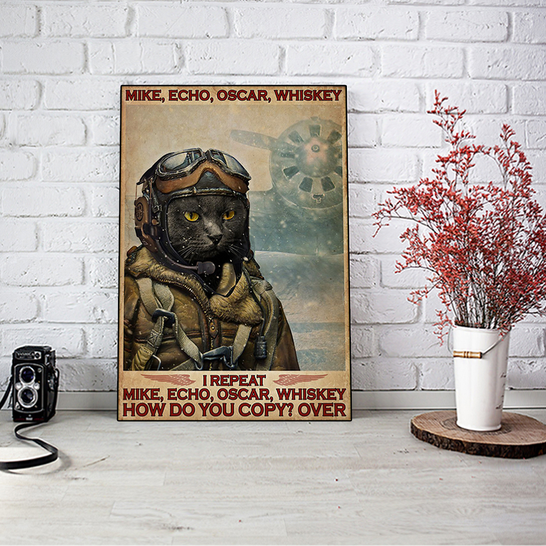 Cat pilot mike echo oscar whiskey poster A3