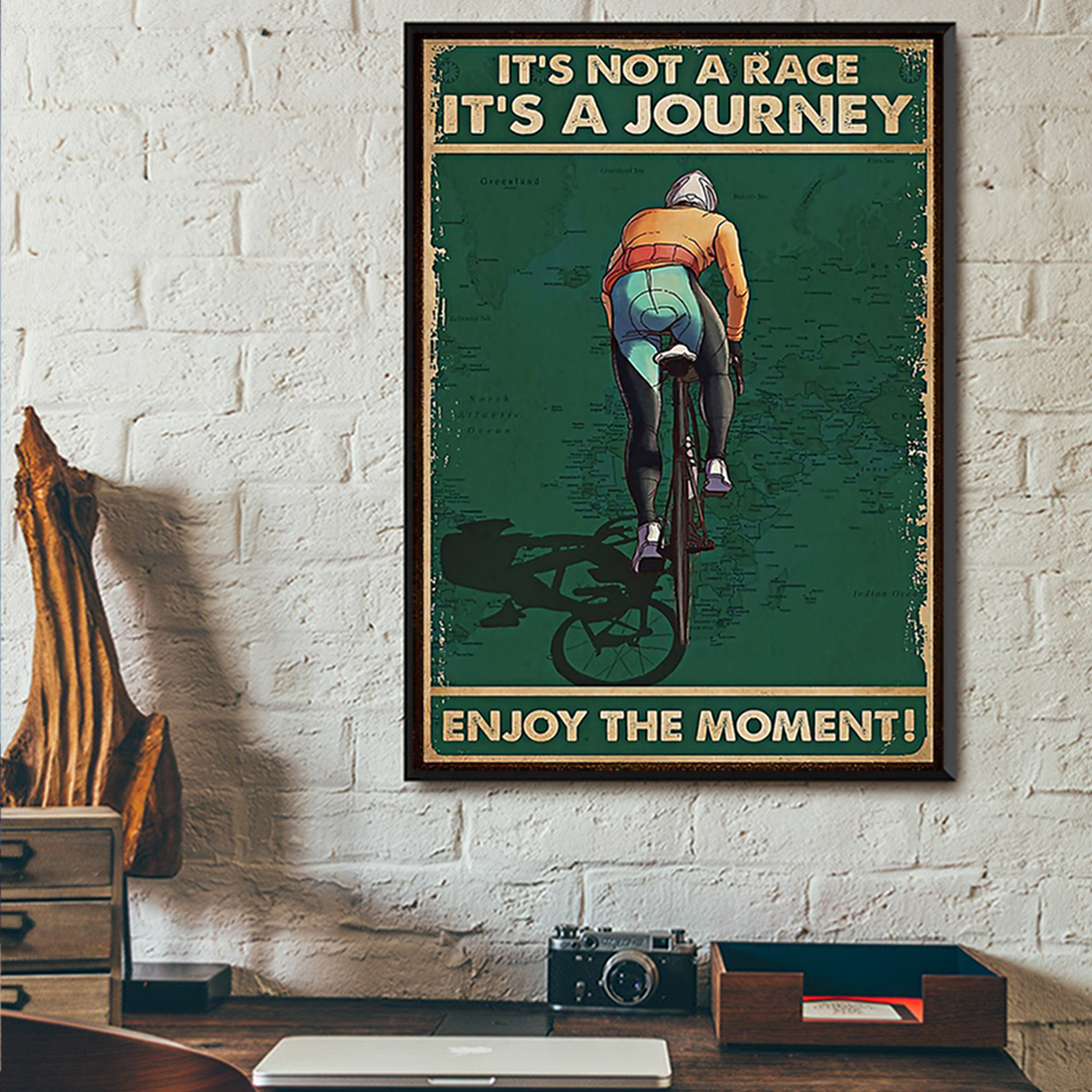 Cycling it's not a race it's a journey enjoy the moment poster A2
