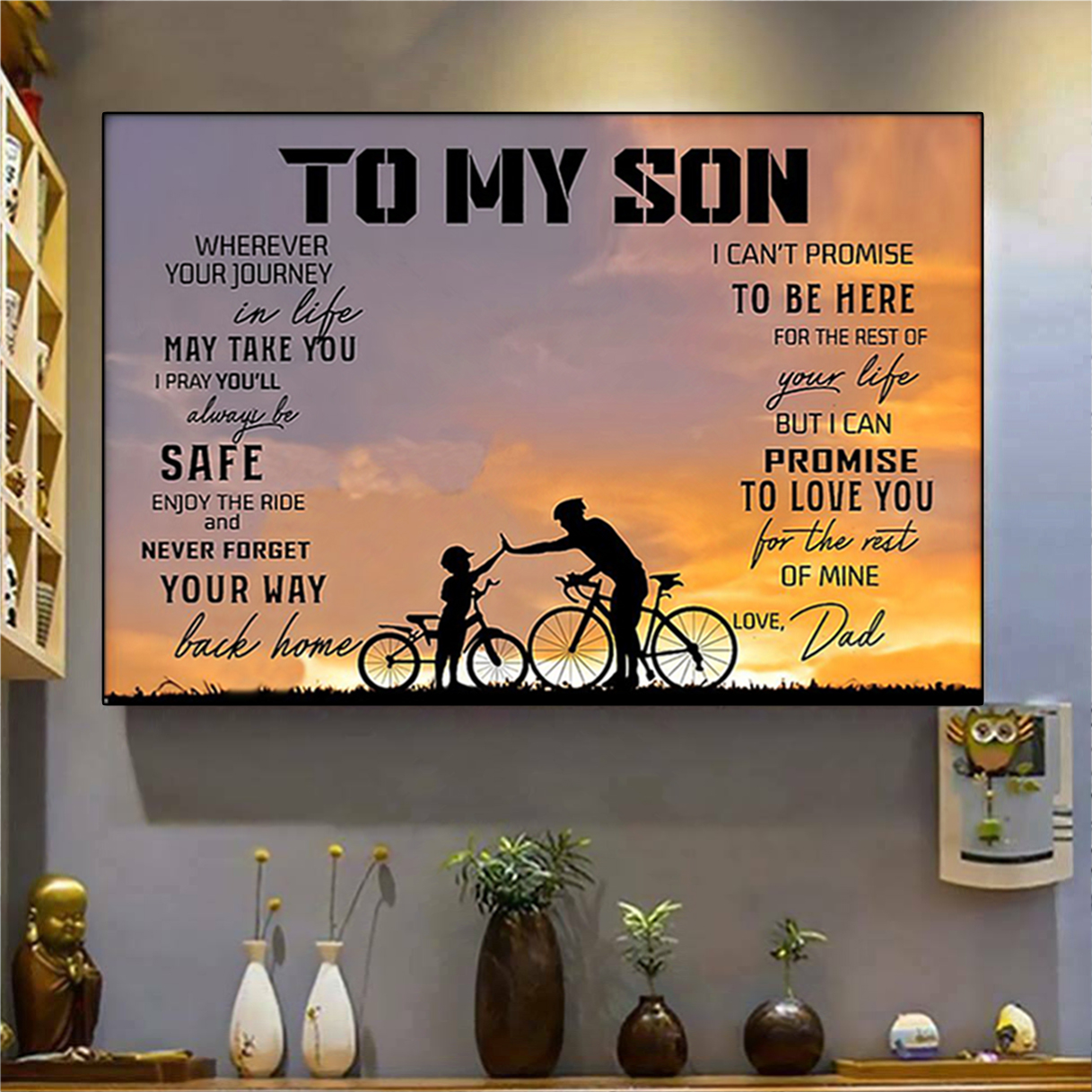 Cycling to my son love dad poster A1