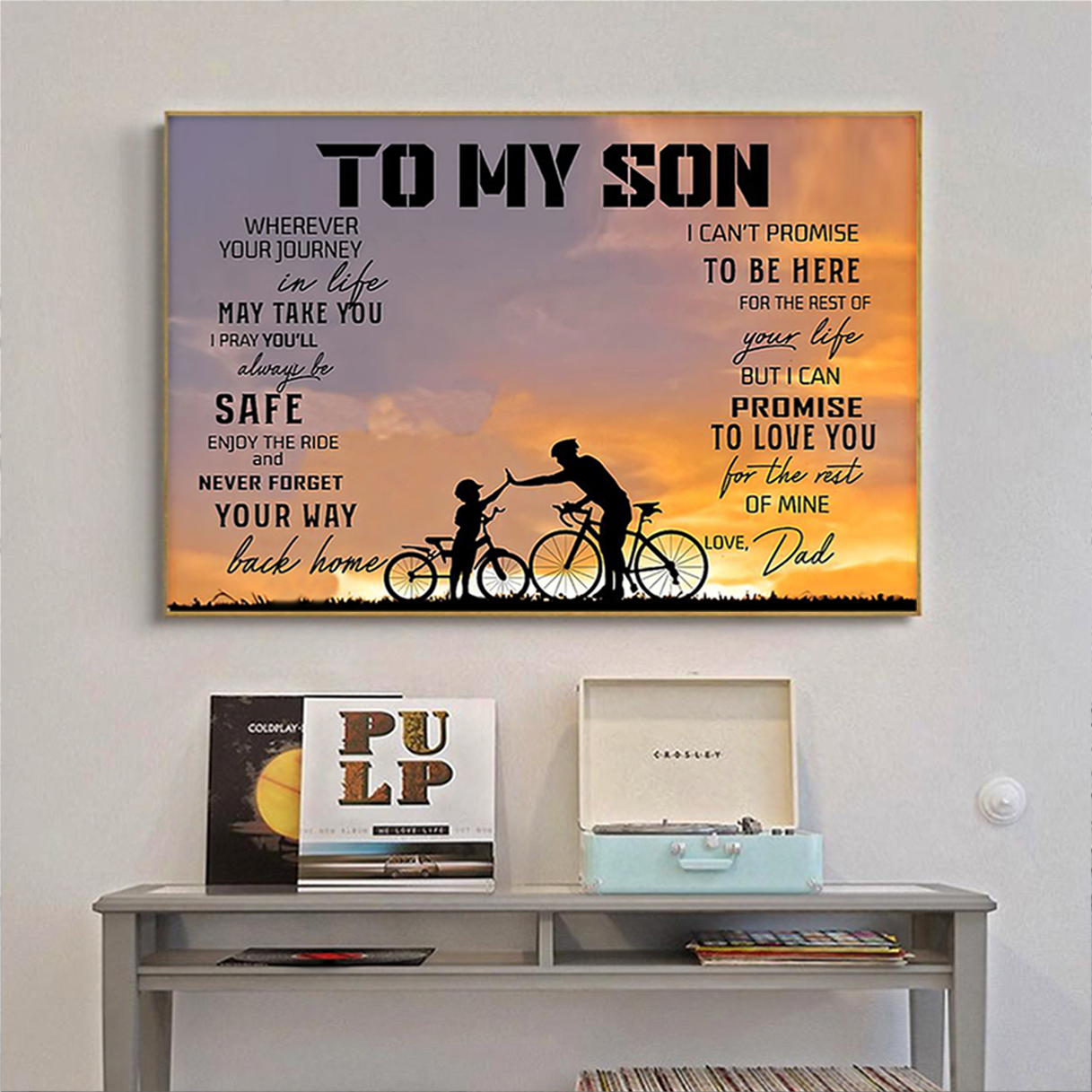 Cycling to my son love dad poster A2