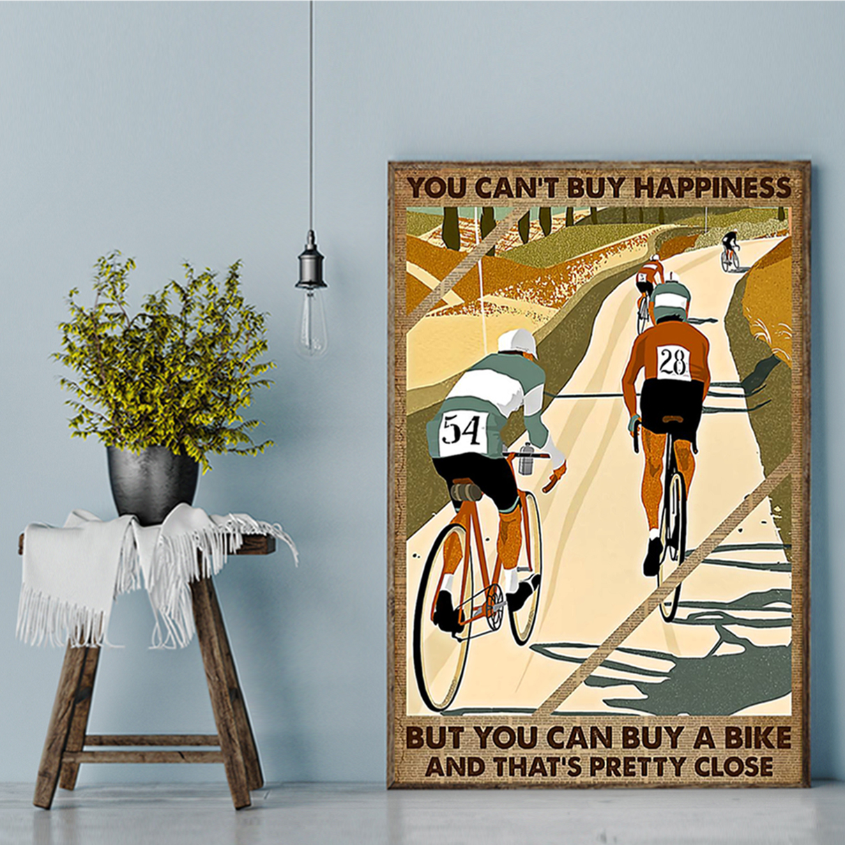 Cycling you can't buy happiness poster A1
