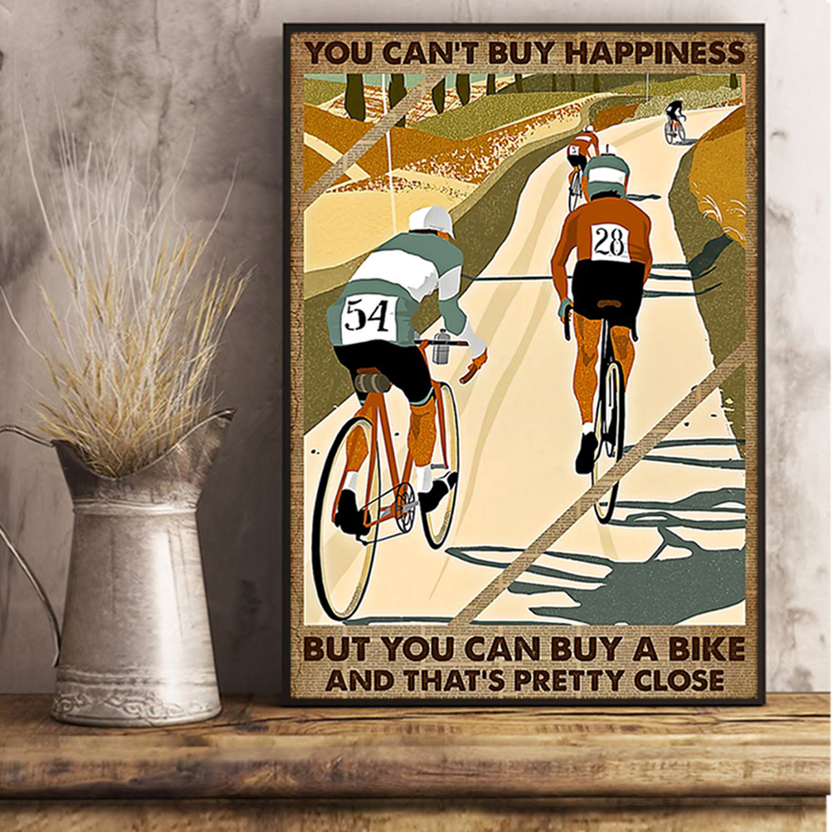 Cycling you can't buy happiness poster A2