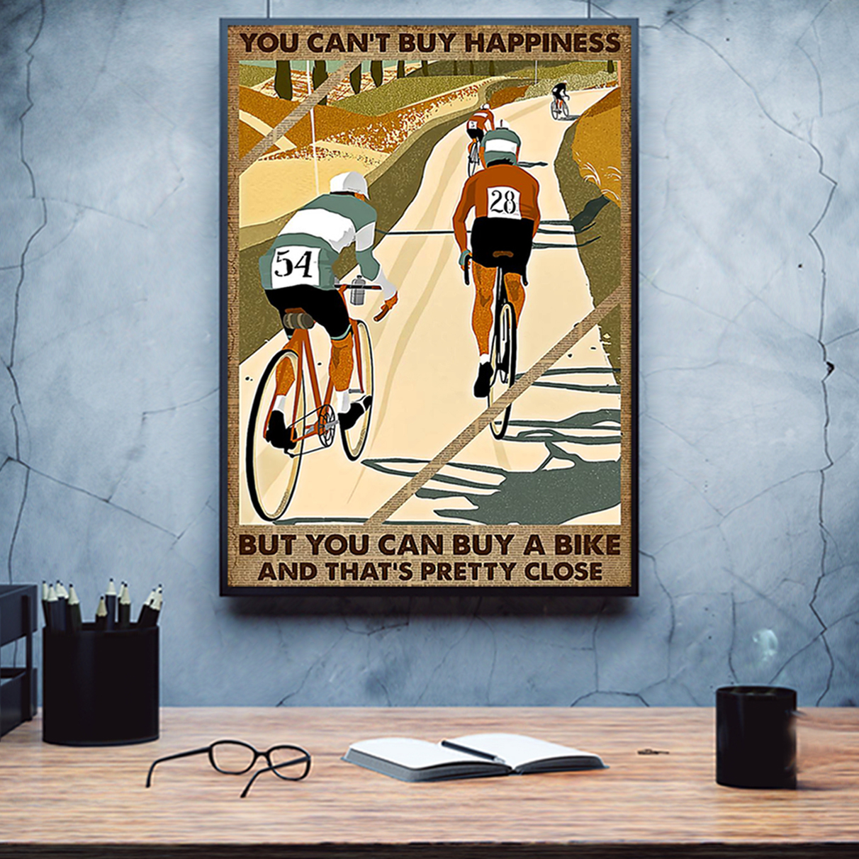 Cycling you can't buy happiness poster A3