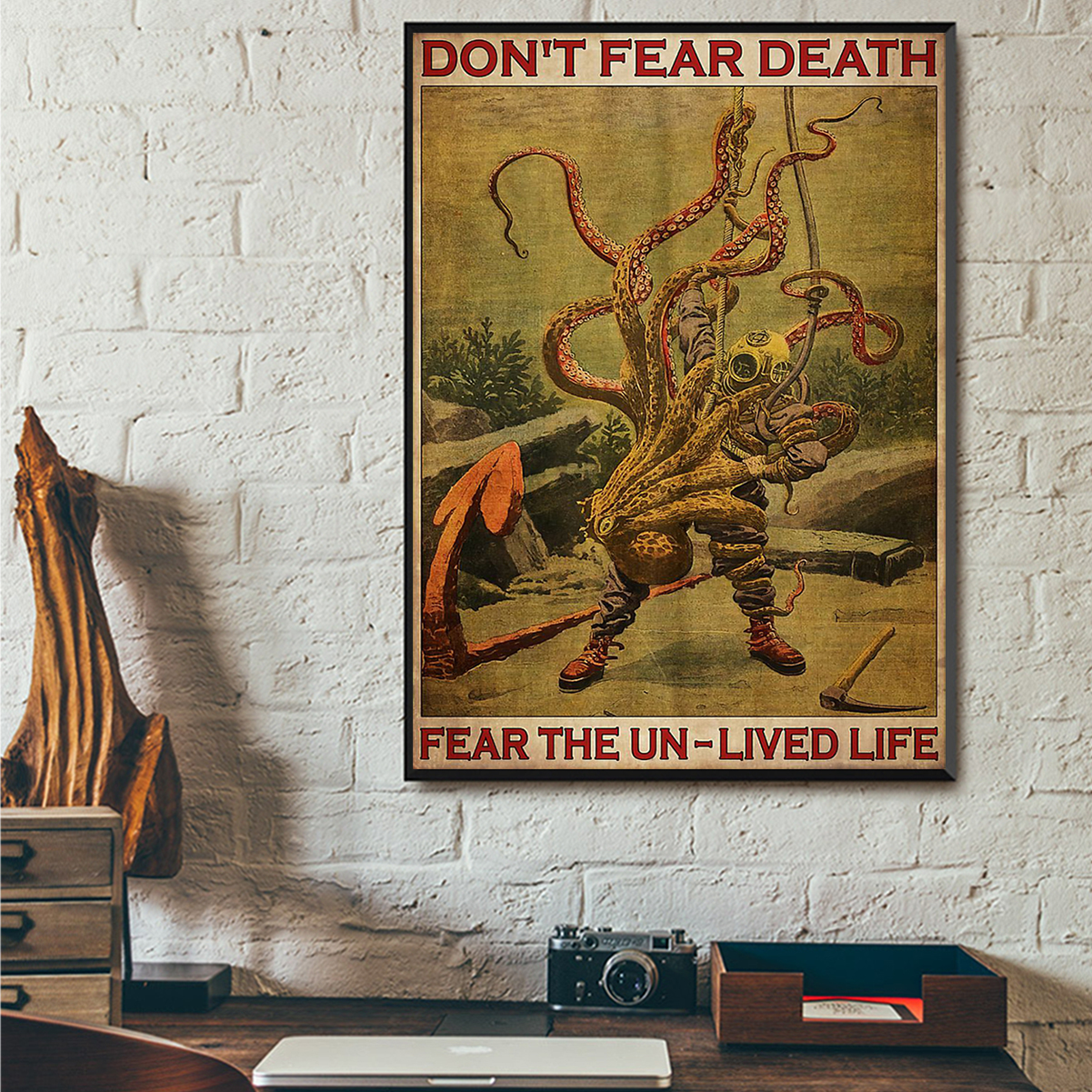 Diver and octopus don't fear death fear the un-lived life poster A2