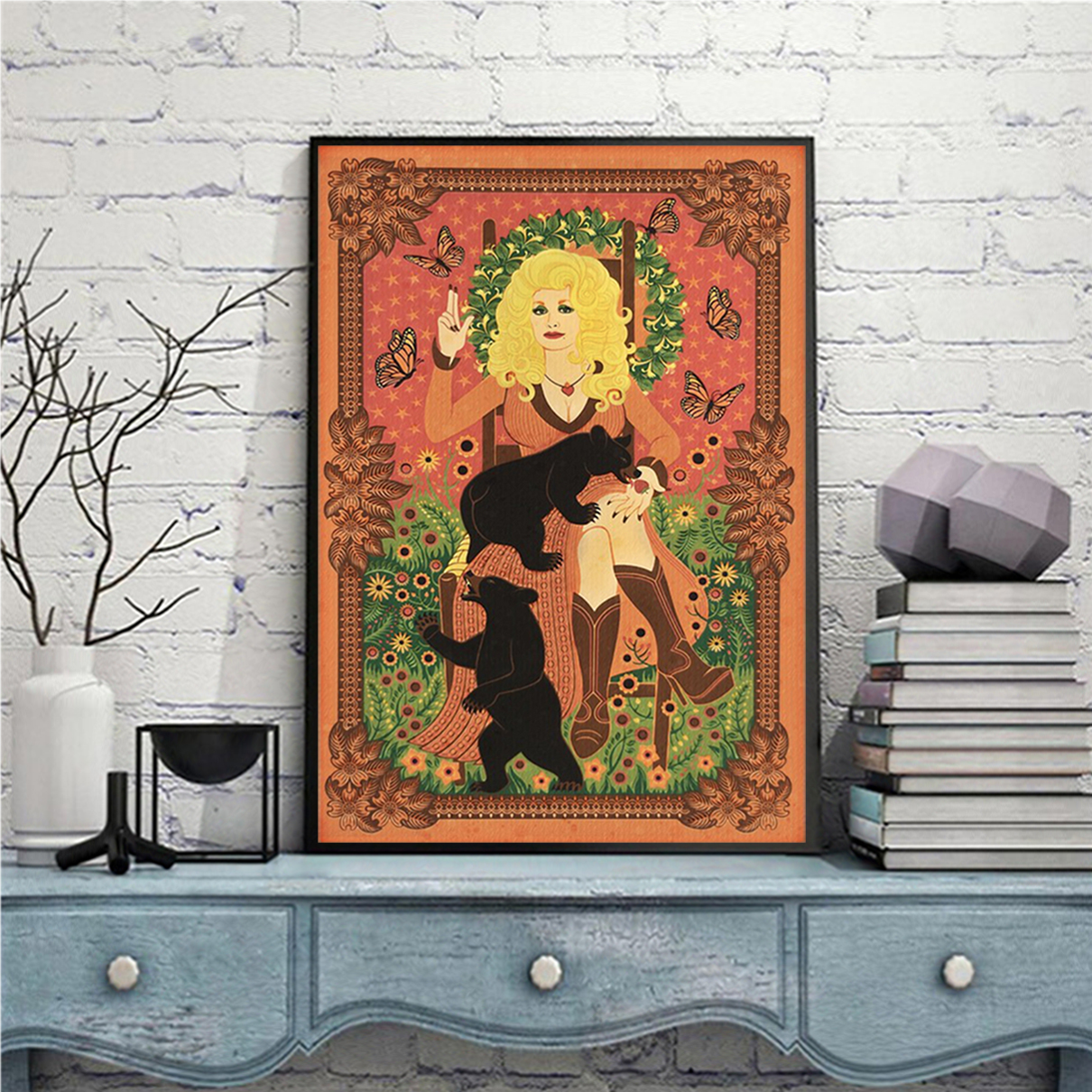 Dolly parton with bears and butterflies poster A1