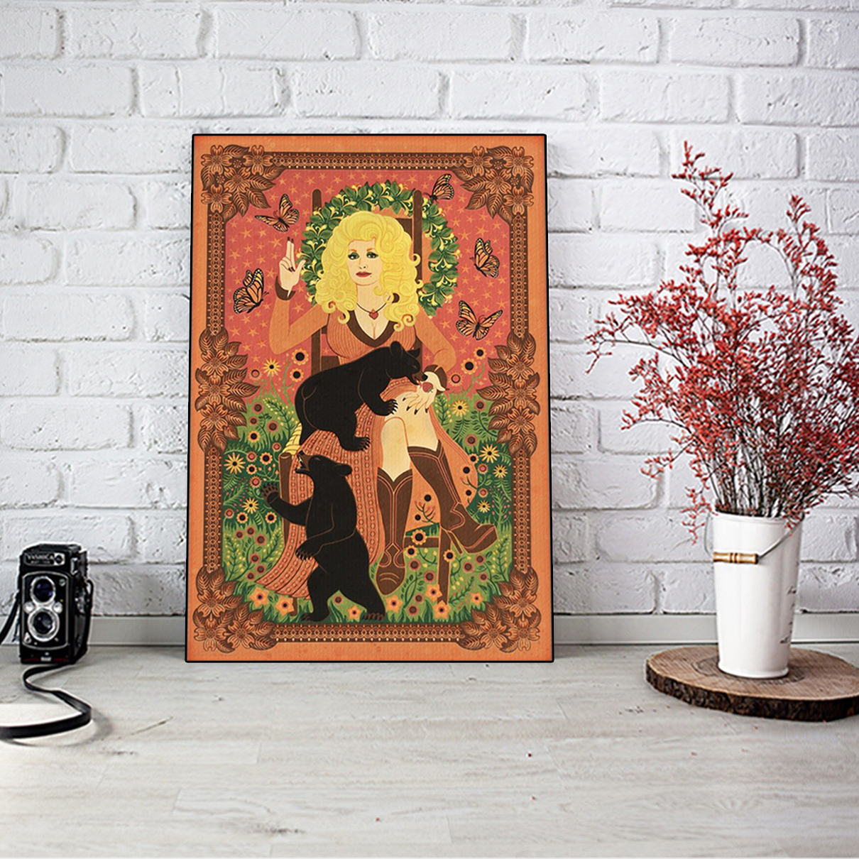Dolly parton with bears and butterflies poster A3
