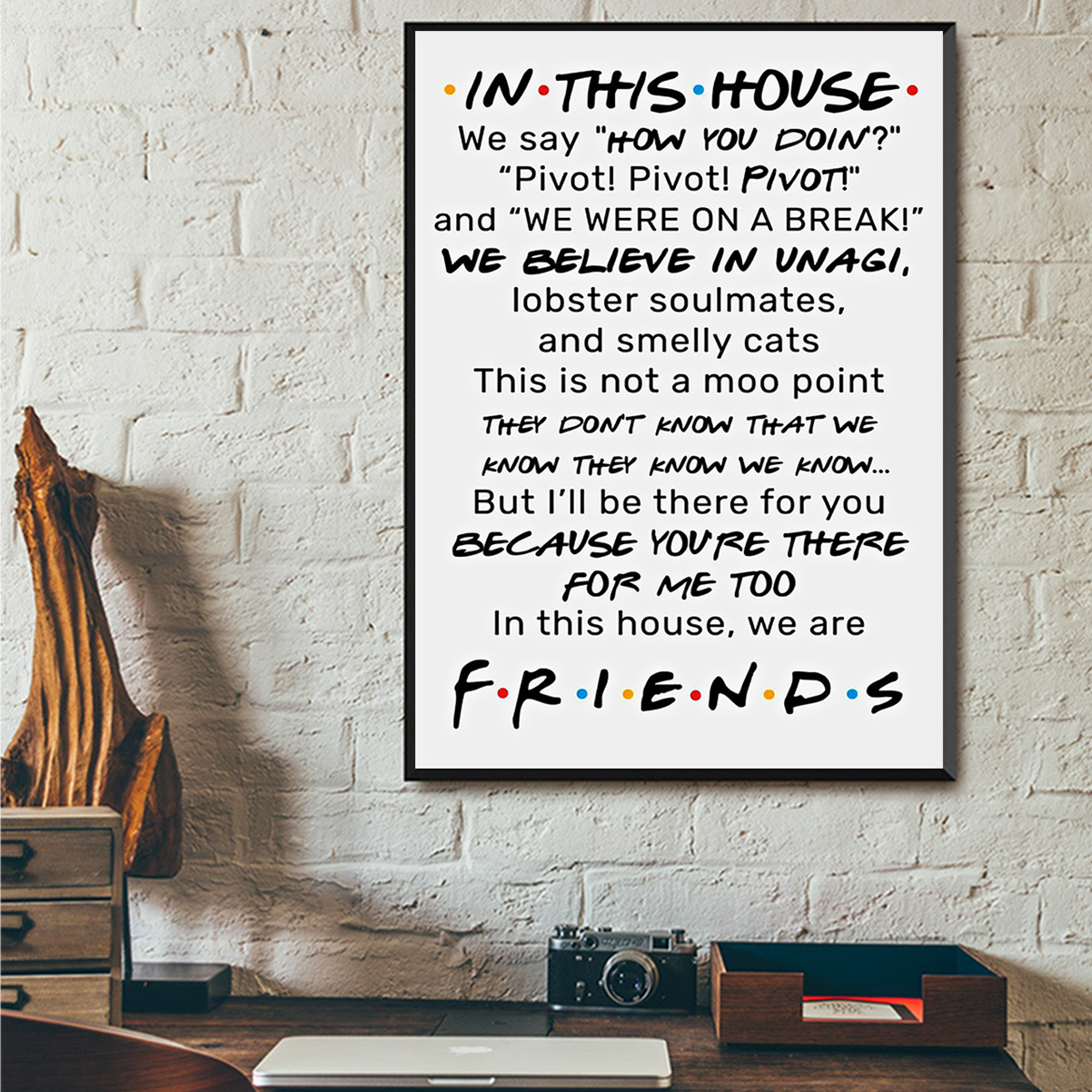 FRIENDS In this house we say how you doing poster A1
