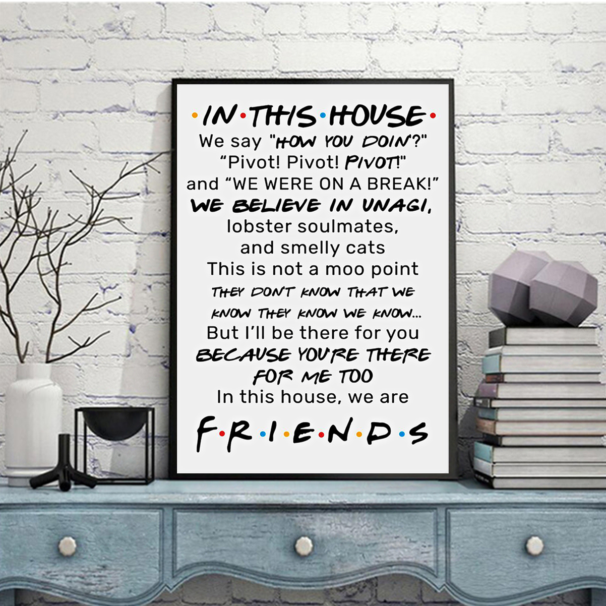 FRIENDS In this house we say how you doing poster A2