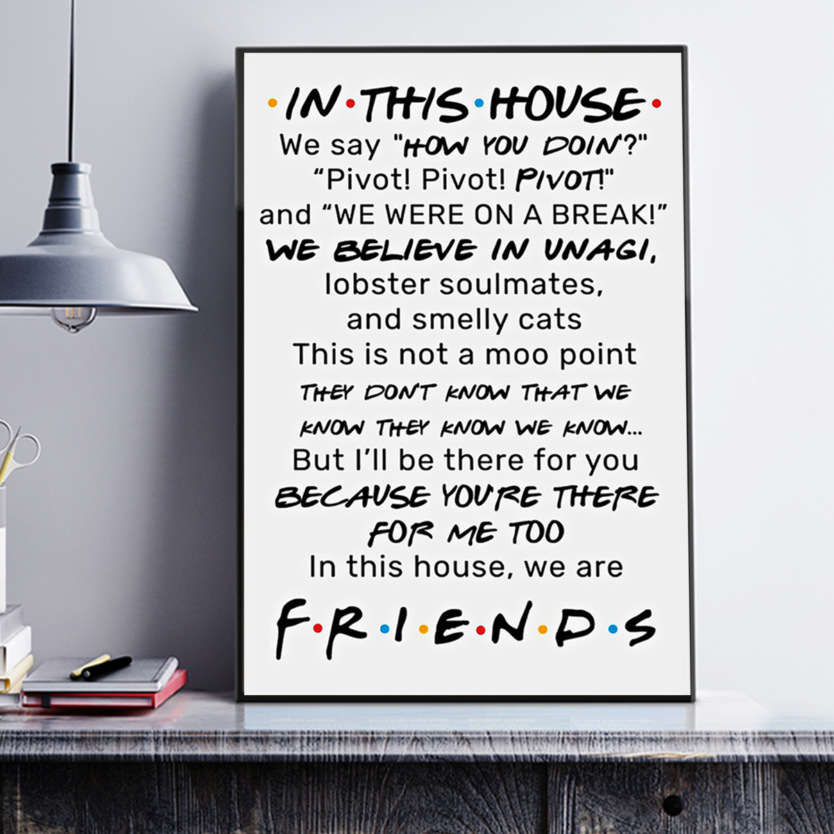 FRIENDS In this house we say how you doing poster A3