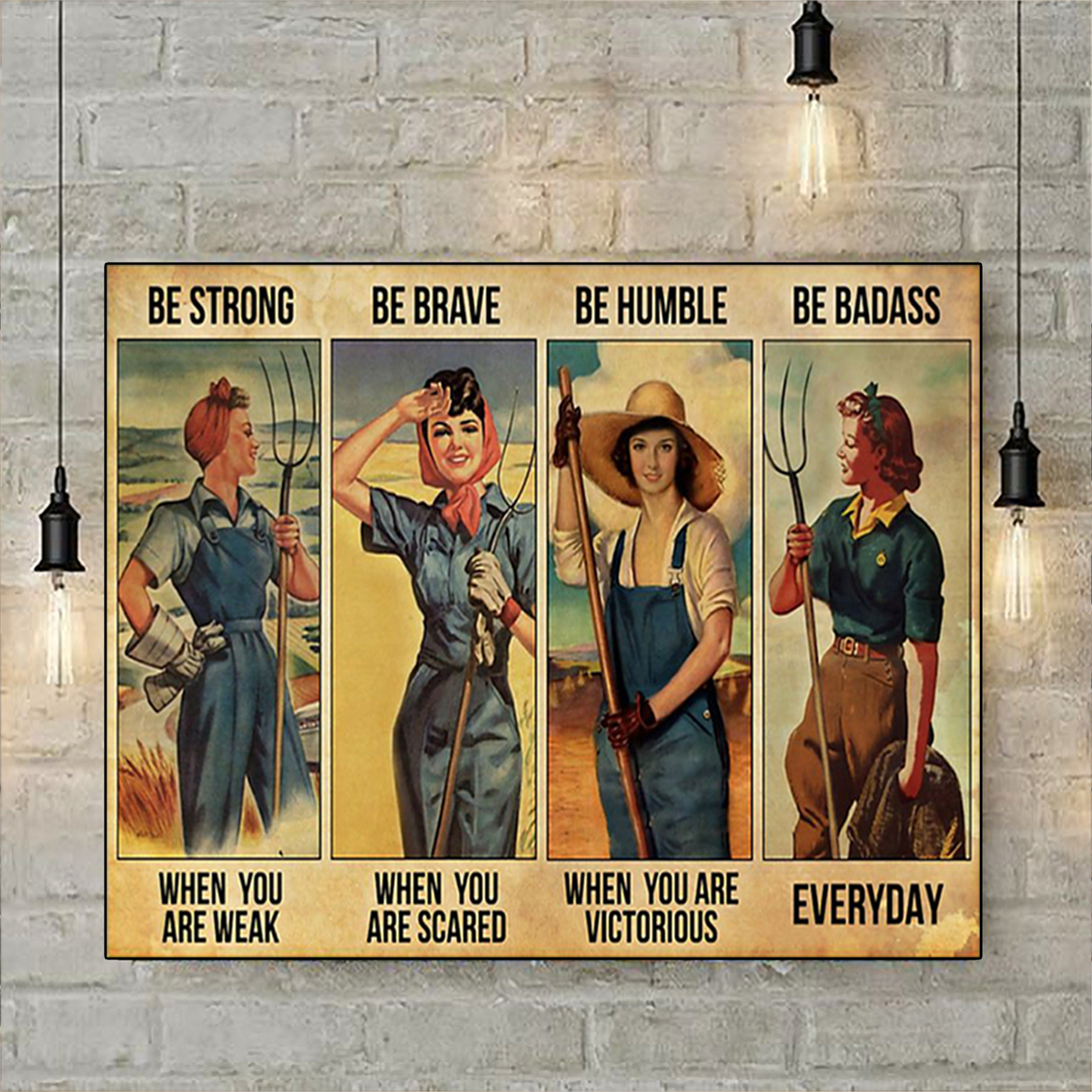 Farmer girl be strong be brave be humble be badass poster A2