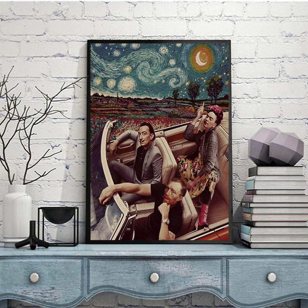 Frida kahlo salvador dali van gogh driving poster A1