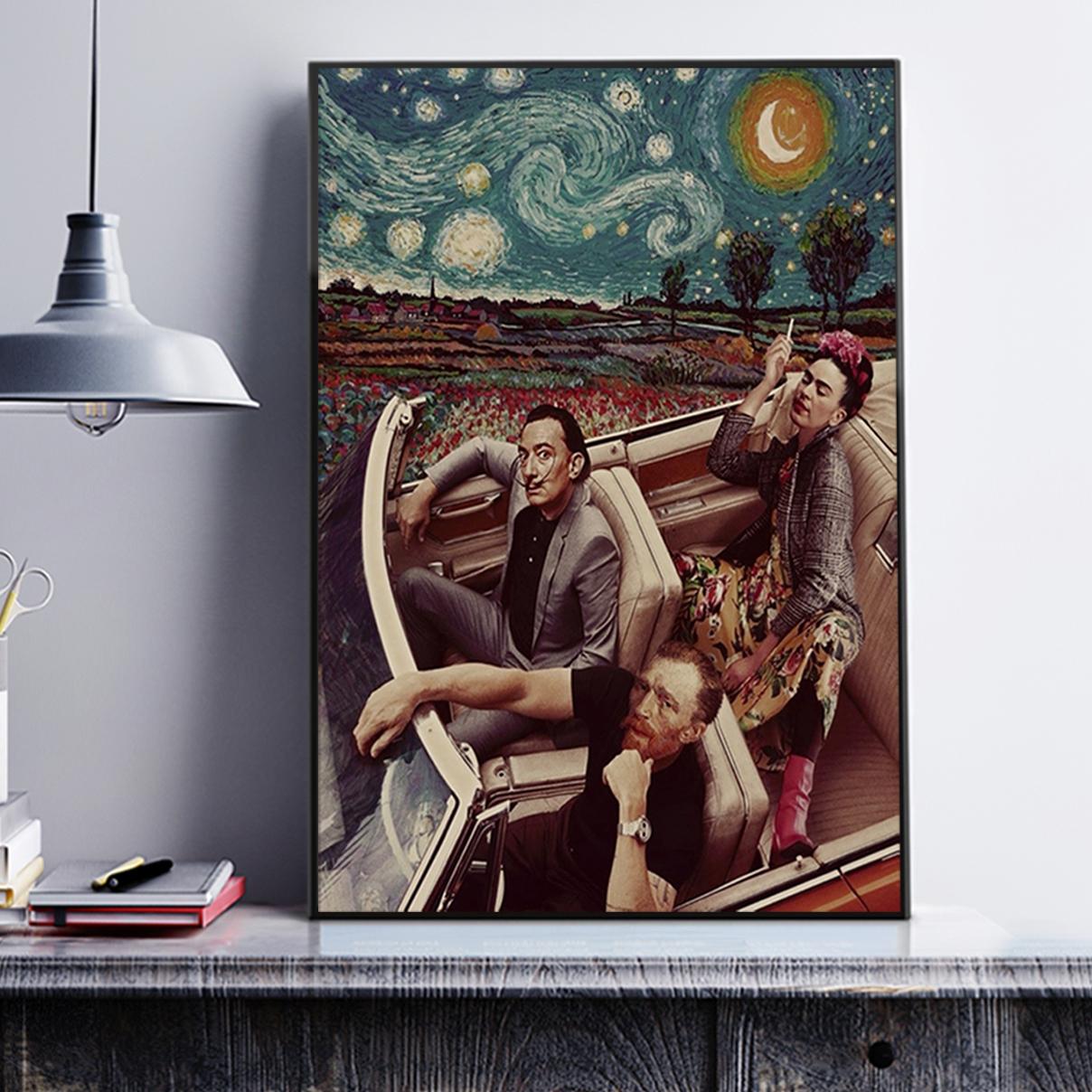 Frida kahlo salvador dali van gogh driving poster A2