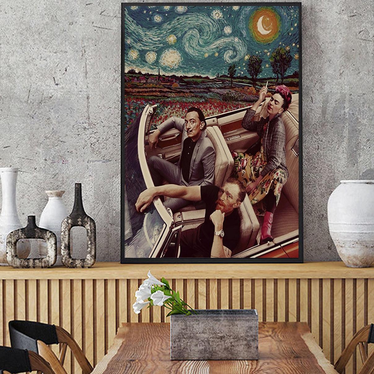 Frida kahlo salvador dali van gogh driving poster A3