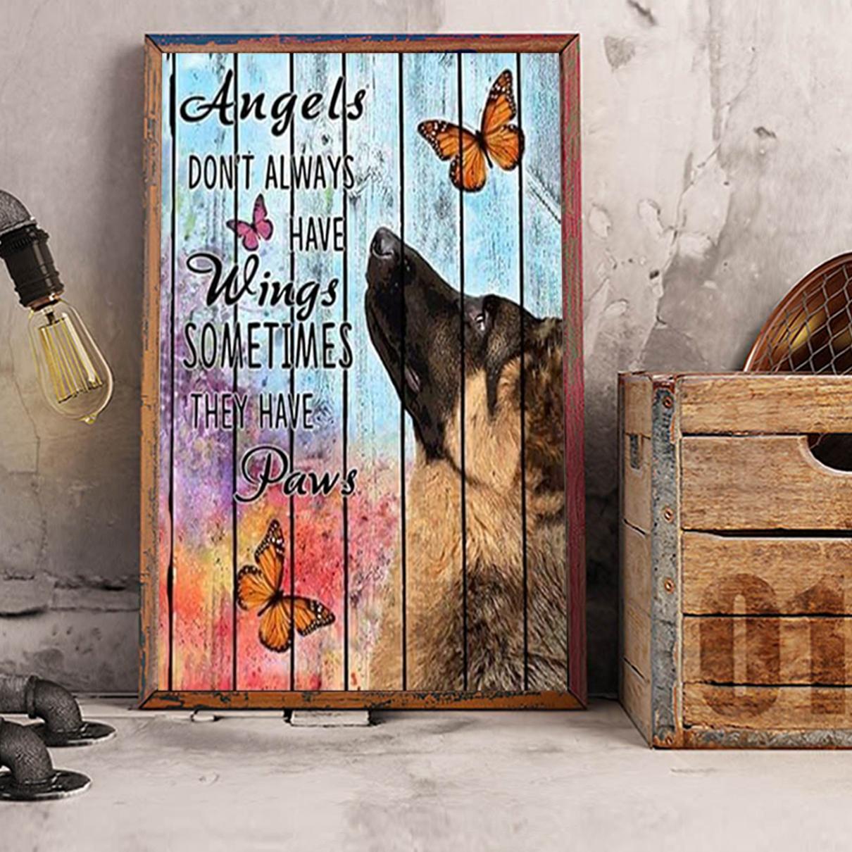 German shepherd angels don't always have wings poster A3