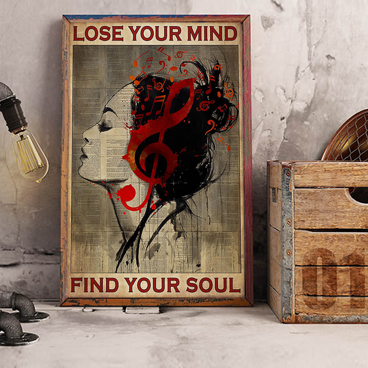 Girl clef lose your mind find your soul poster A2