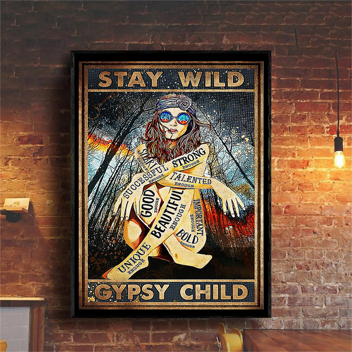 Hippie girl glasses stay wild gypsy child poster A2