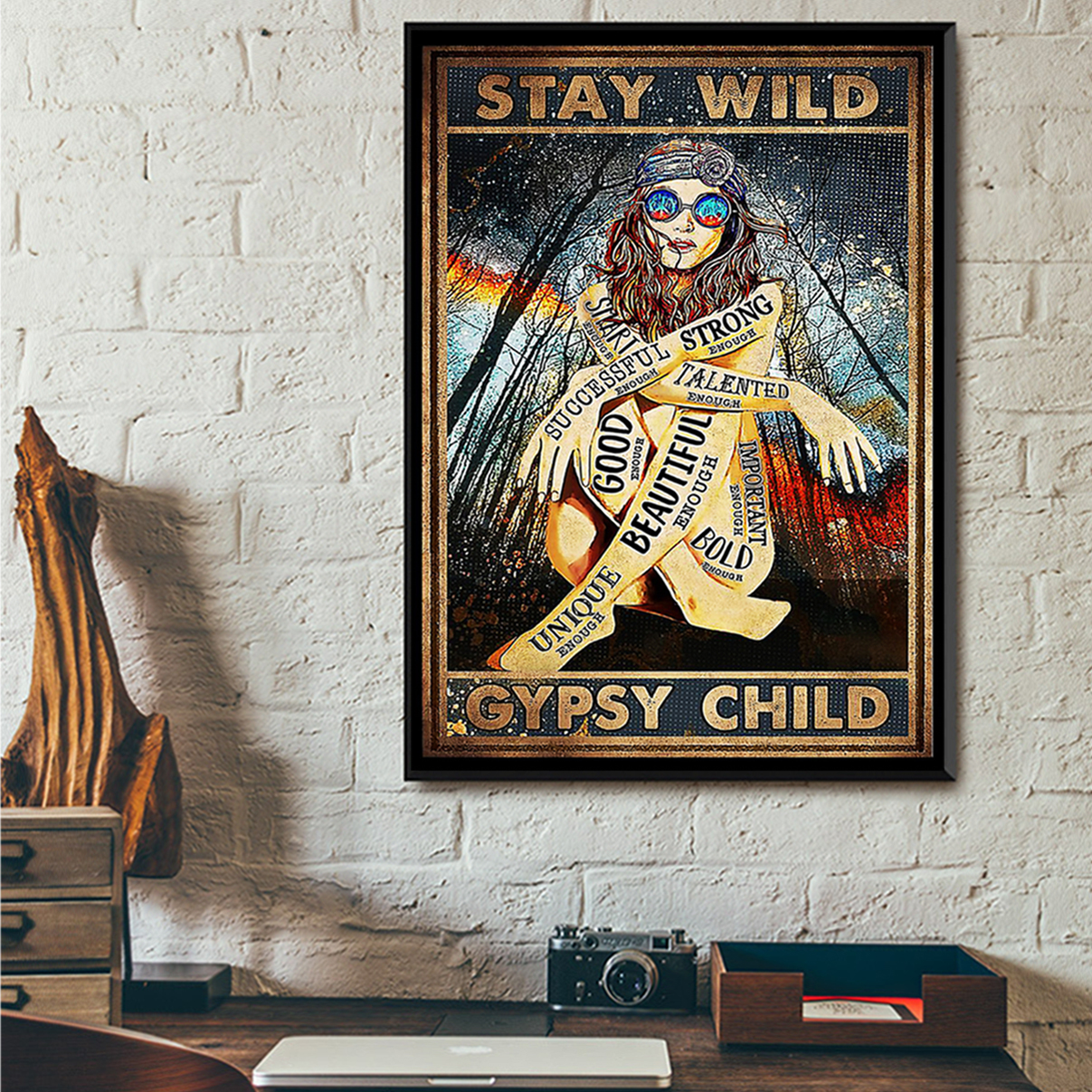 Hippie girl glasses stay wild gypsy child poster A3