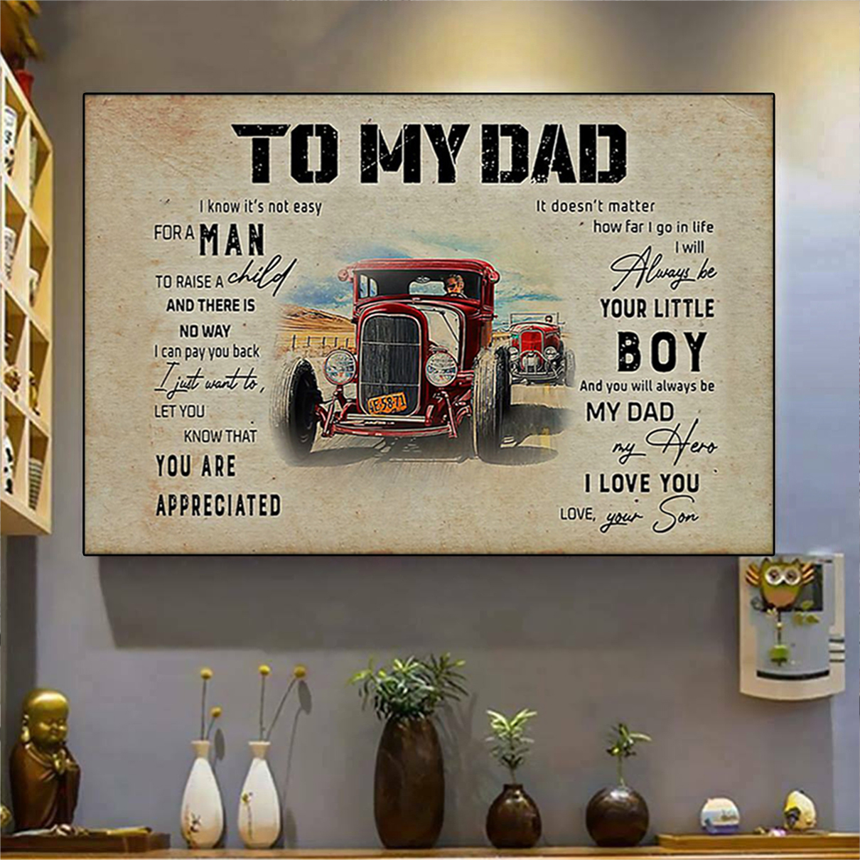 Hod rod to my dad your son poster A2