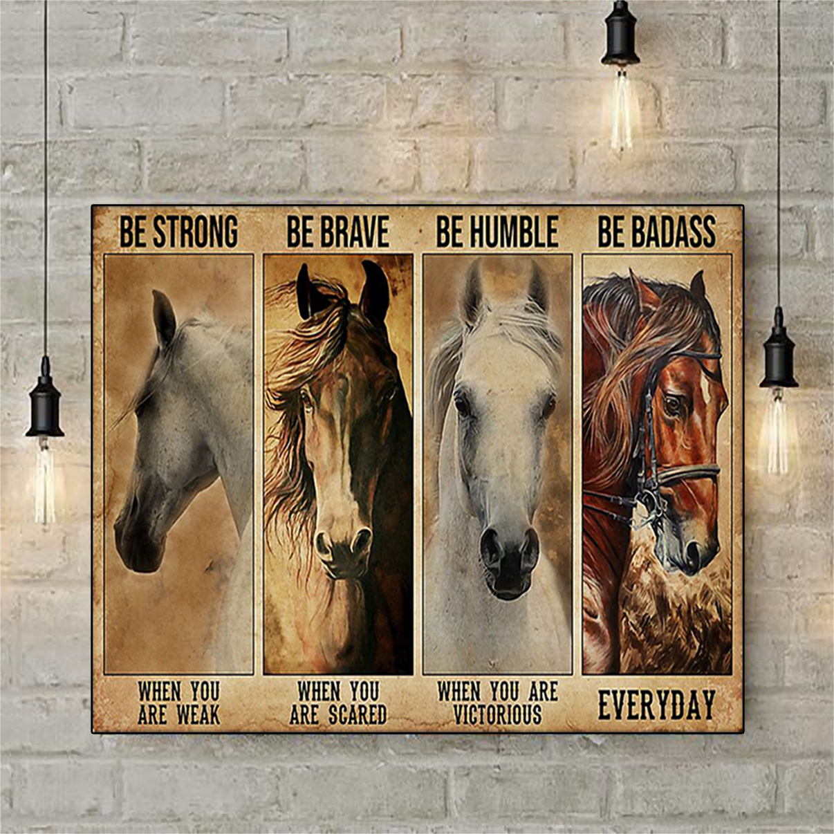 Horse be strong be brave be humble be badass poster A3