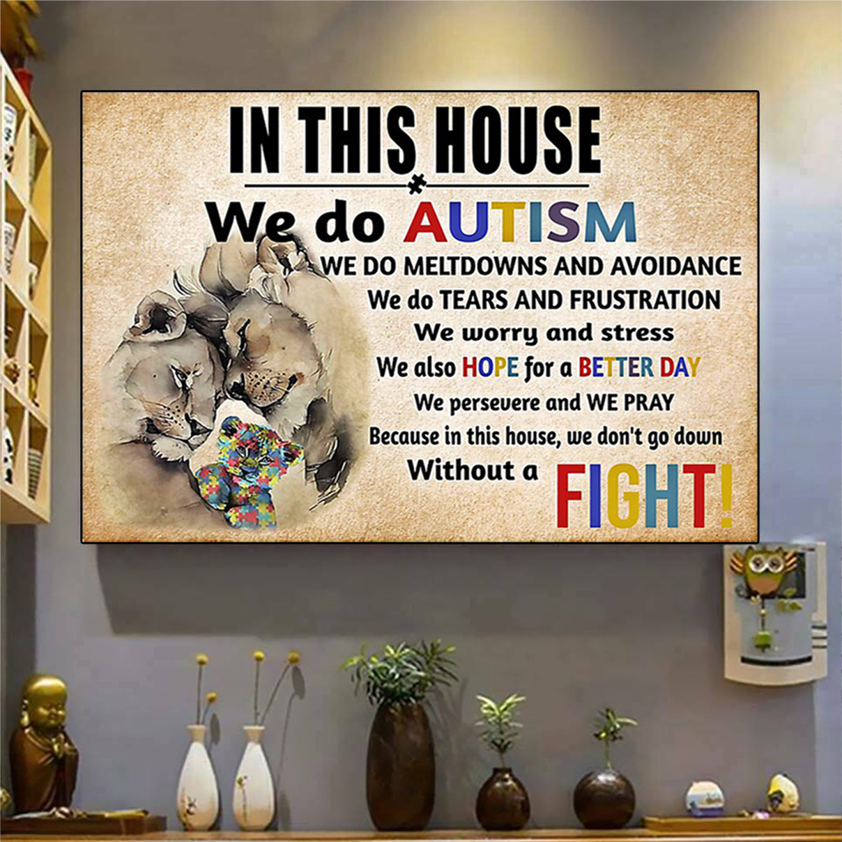 Lion in this house we do autism poster A1