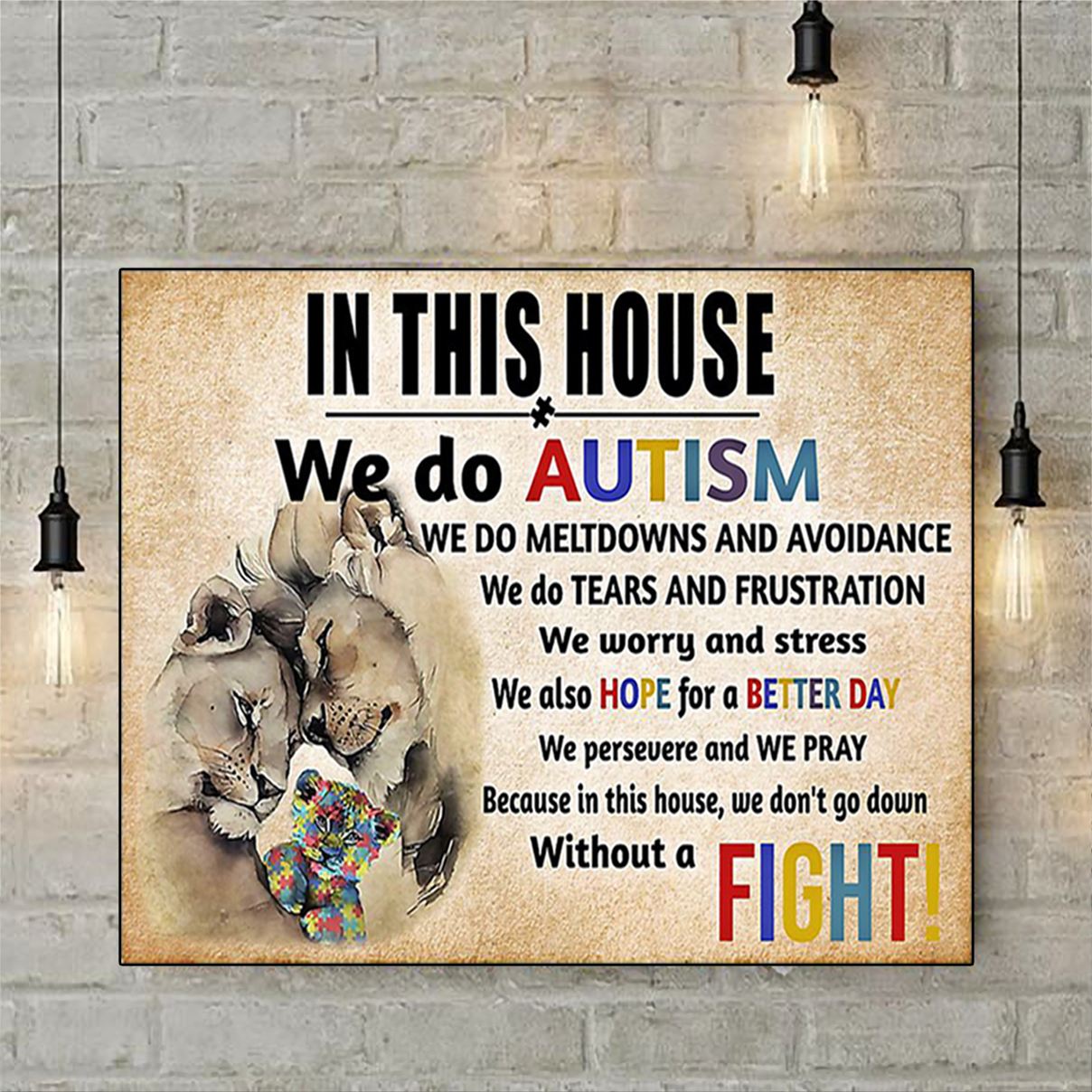 Lion in this house we do autism poster A3