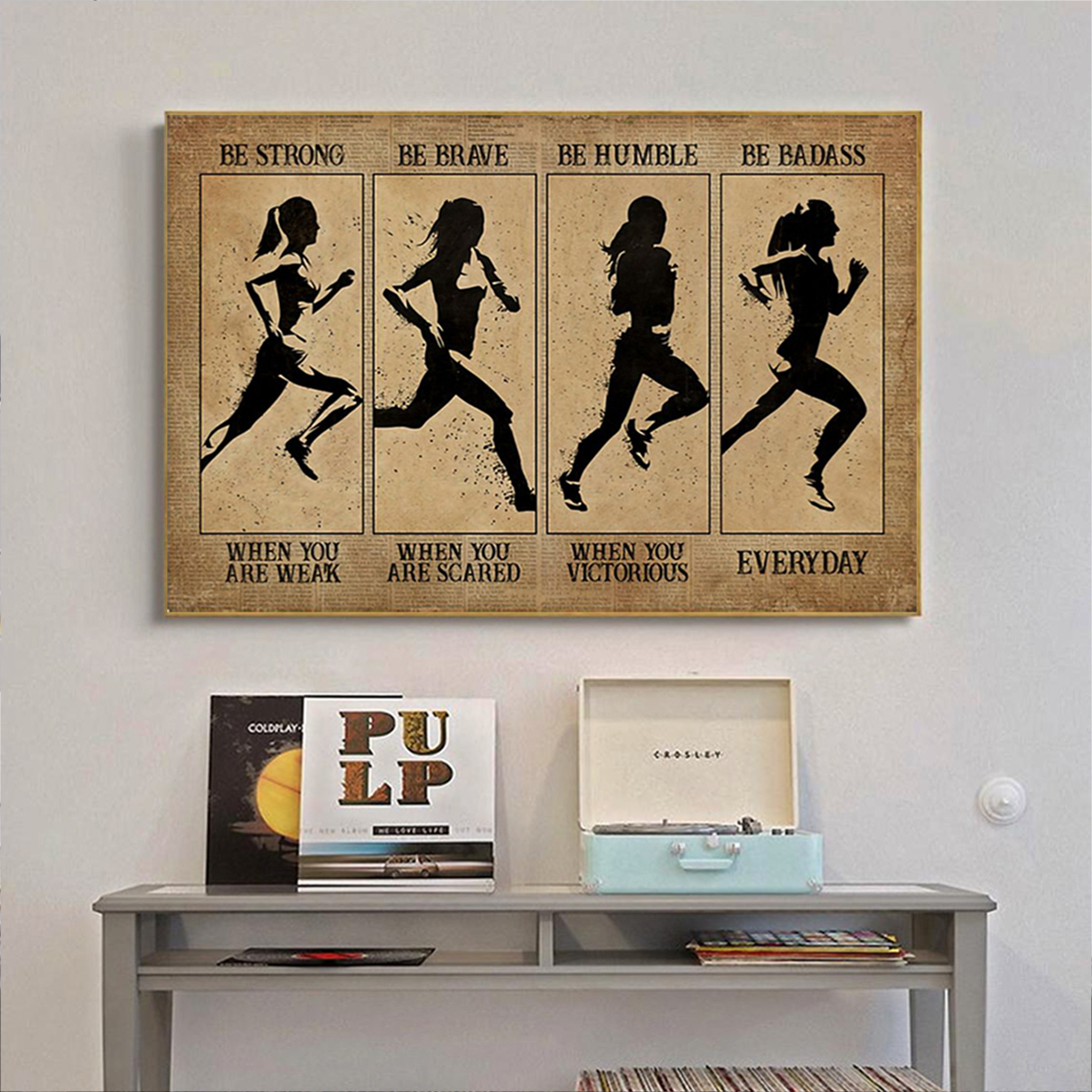 Marathon woman be strong be brave be humble be badass poster A1