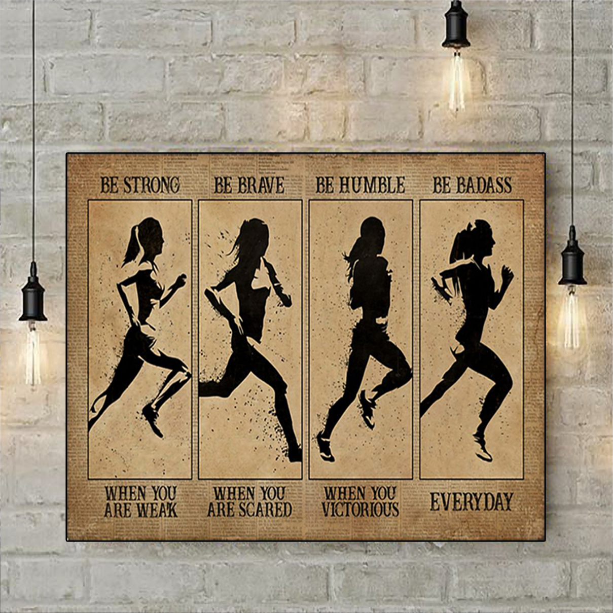 Marathon woman be strong be brave be humble be badass poster A2