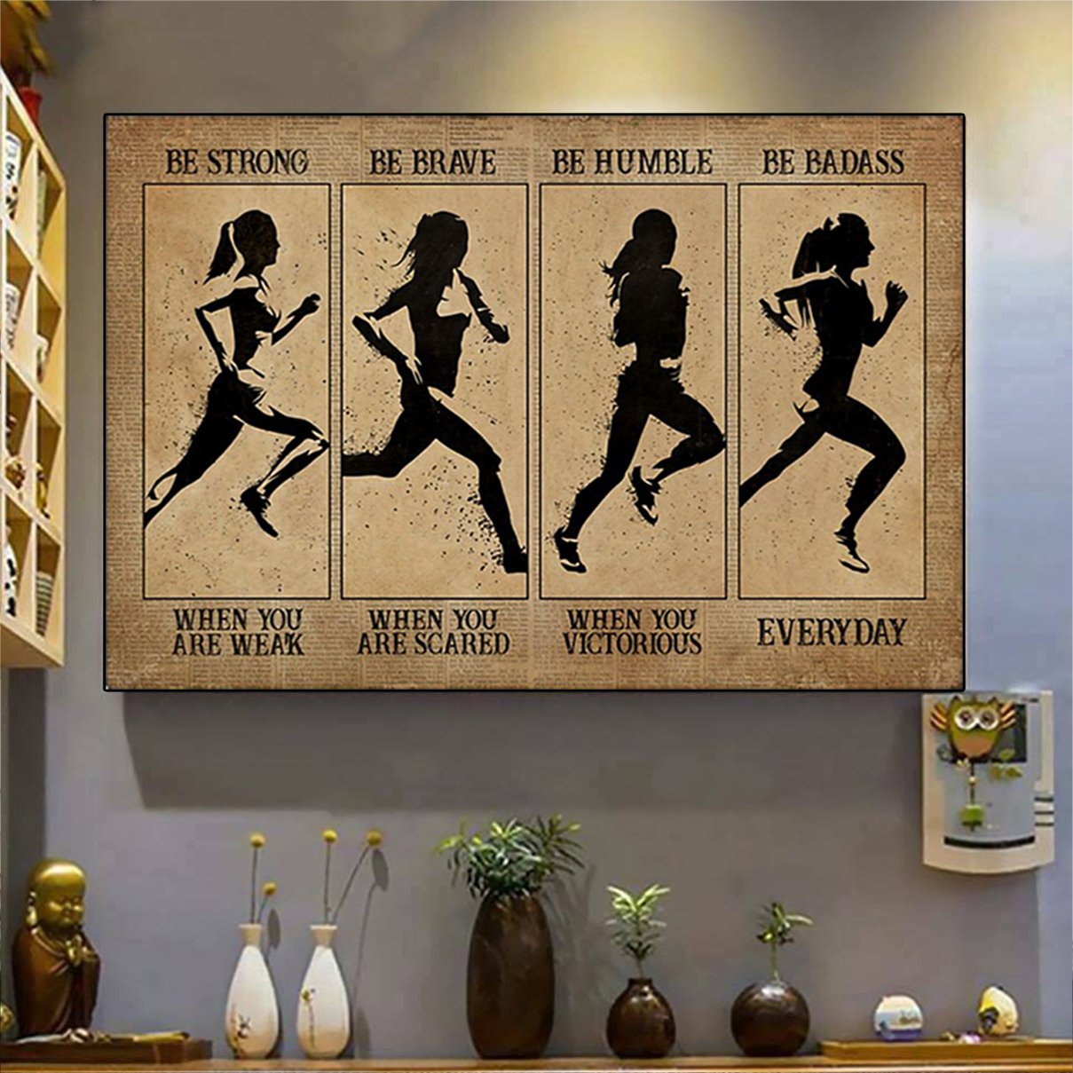 Marathon woman be strong be brave be humble be badass poster A3