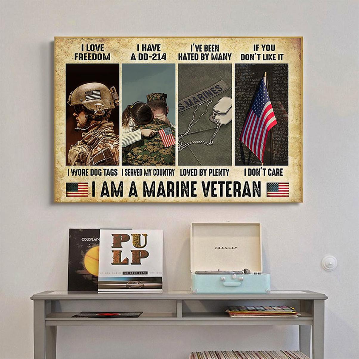 Marine Veteran i love freedom i have a dd-214 poster A1