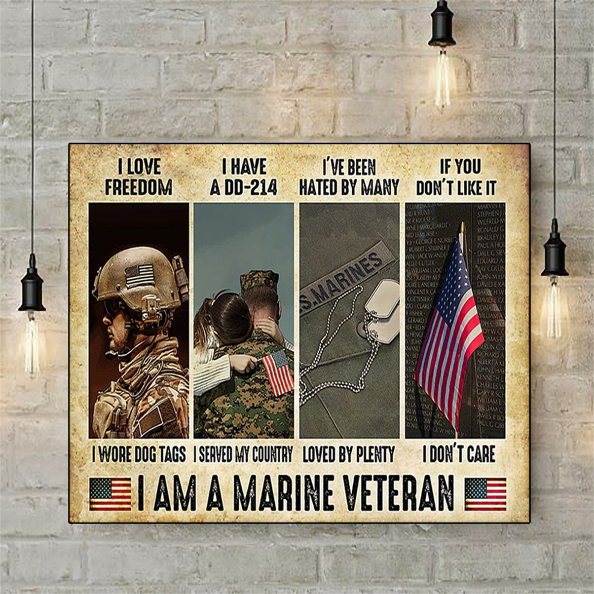 Marine Veteran i love freedom i have a dd-214 poster A2