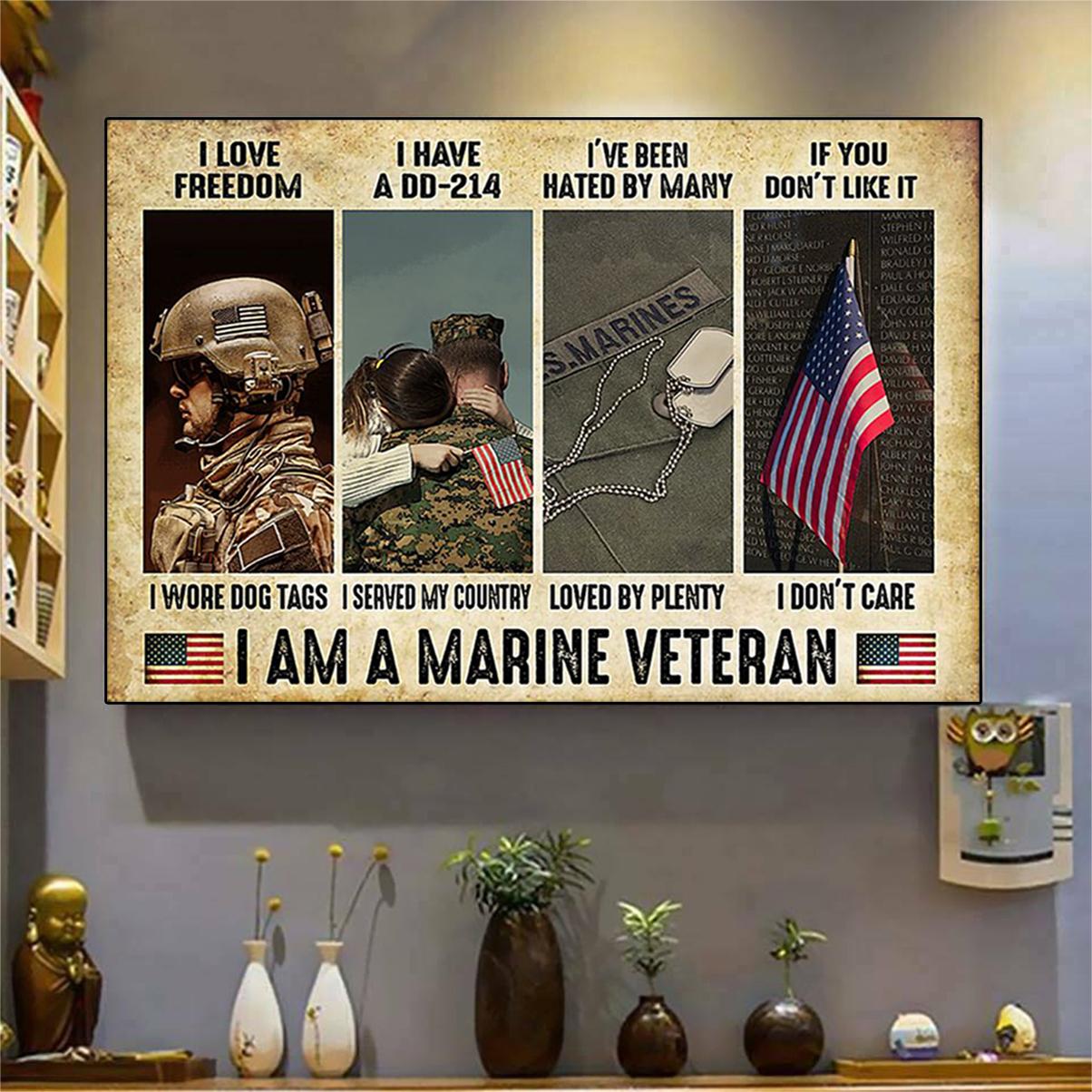 Marine Veteran i love freedom i have a dd-214 poster A3