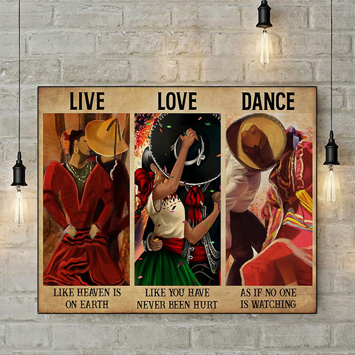 Mexican dance live love dance poster A3