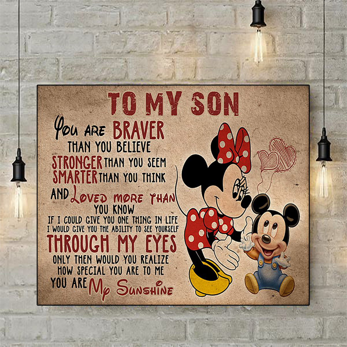 Minnie mouse to my son poster A3