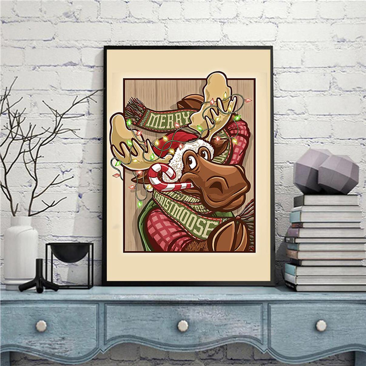 Moose merry christmoose christmas poster A3
