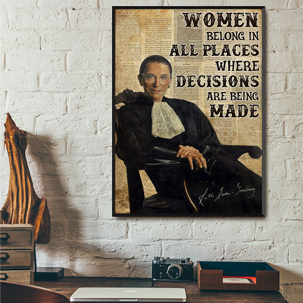 RBG women belong in all places poster A1