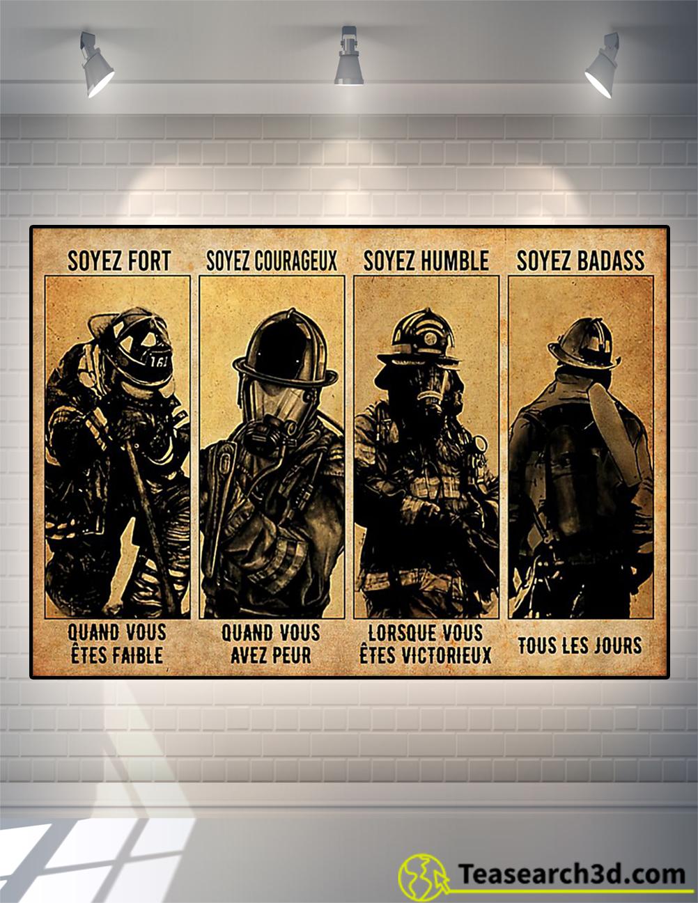 Sapeur pompier soyez fort soyez courageux soyez humble soyez badass affiche