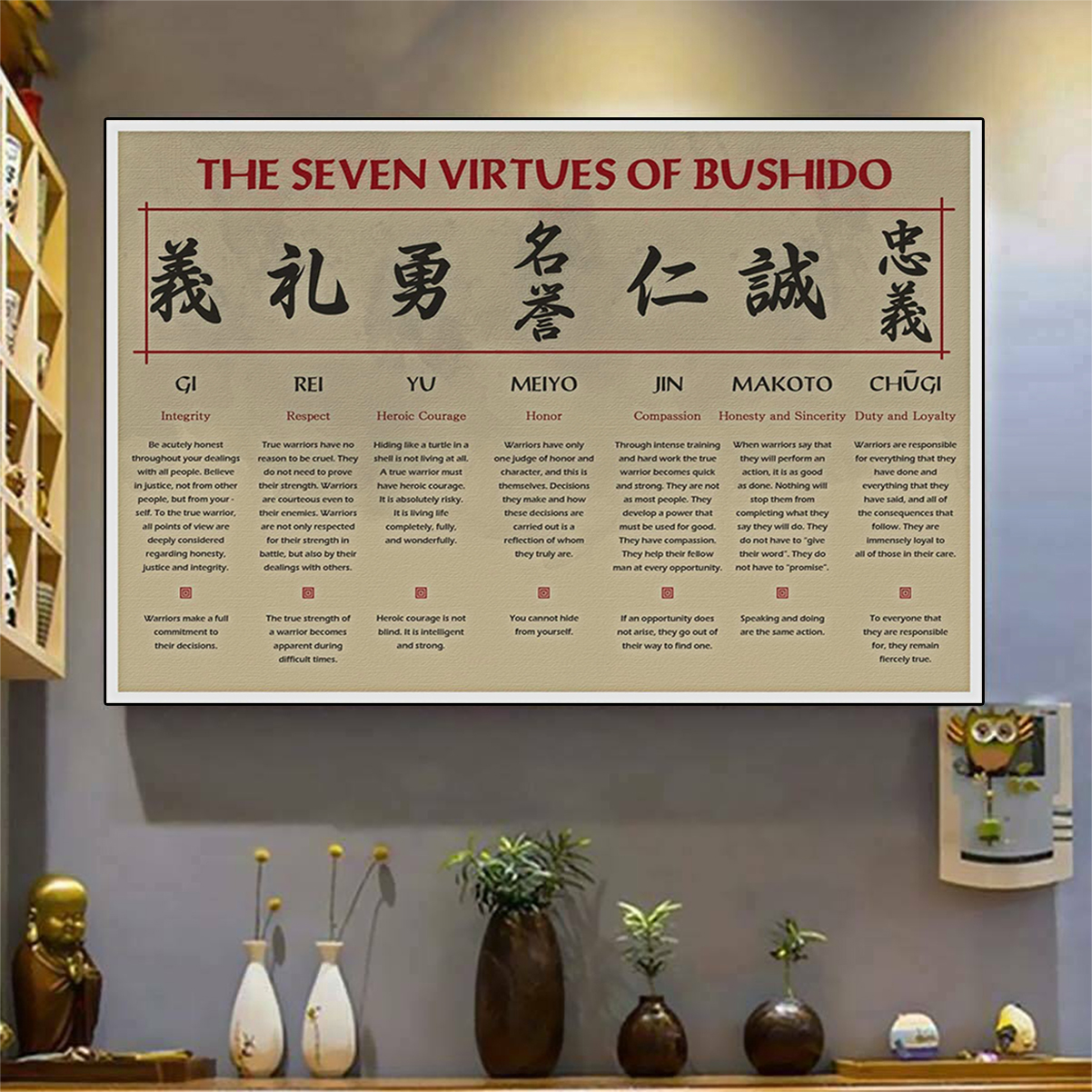 The seven virtures of bushido poster A1