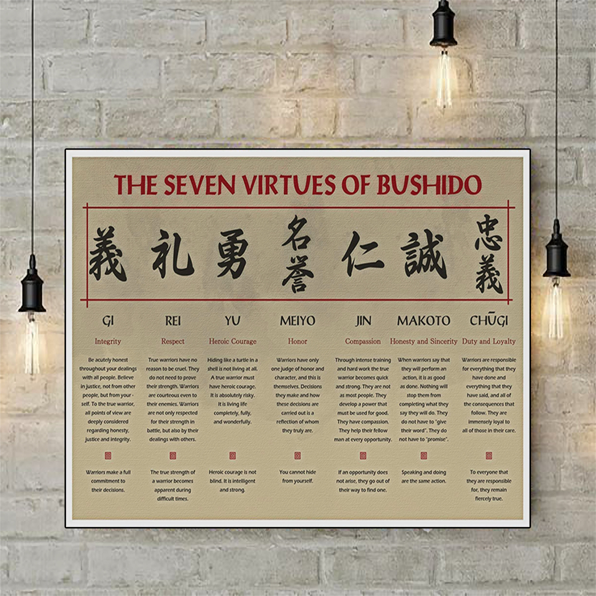 The seven virtures of bushido poster A3