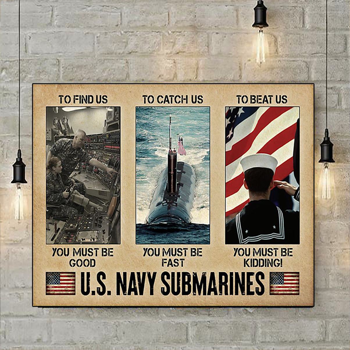 US navy submarines poster A3