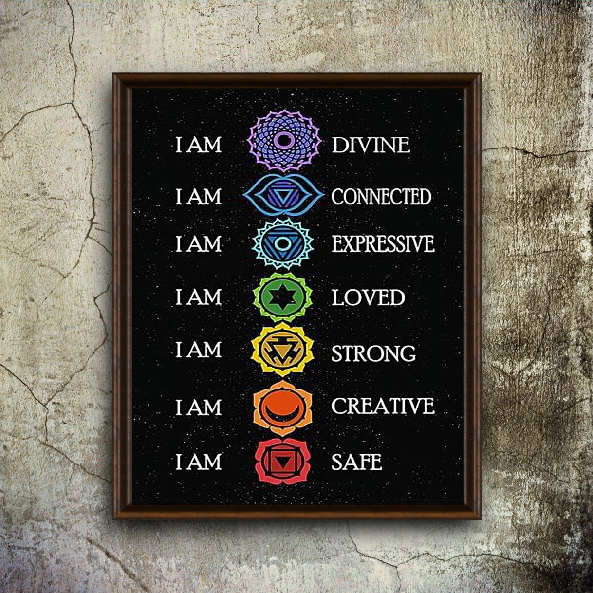 Yoga I am divine I am connected poster A1