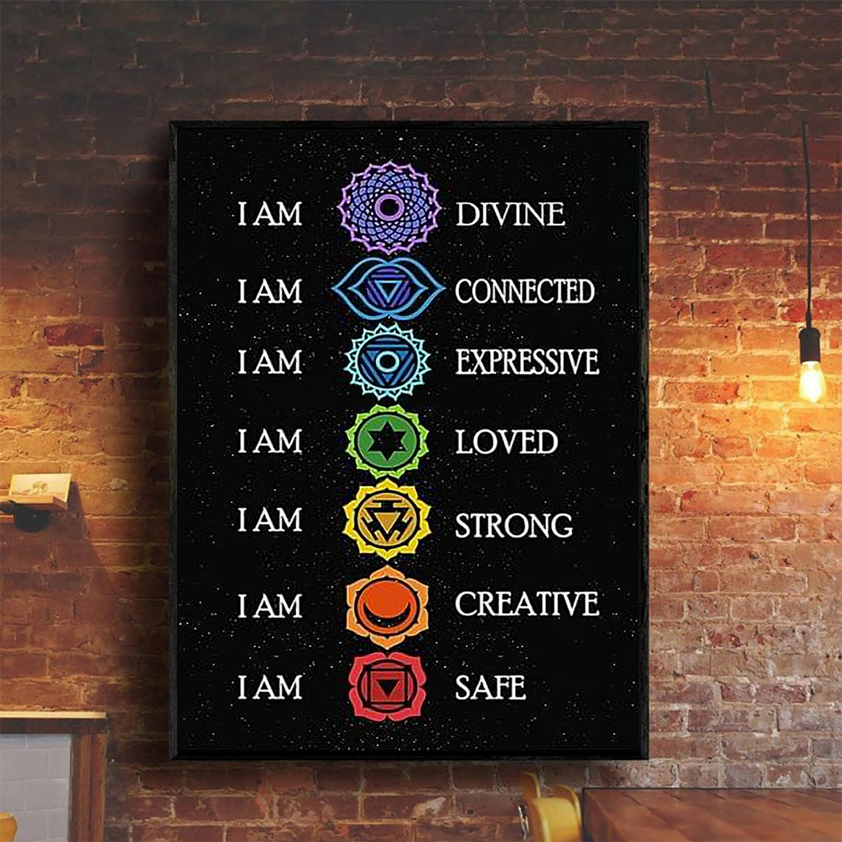 Yoga I am divine I am connected poster A2