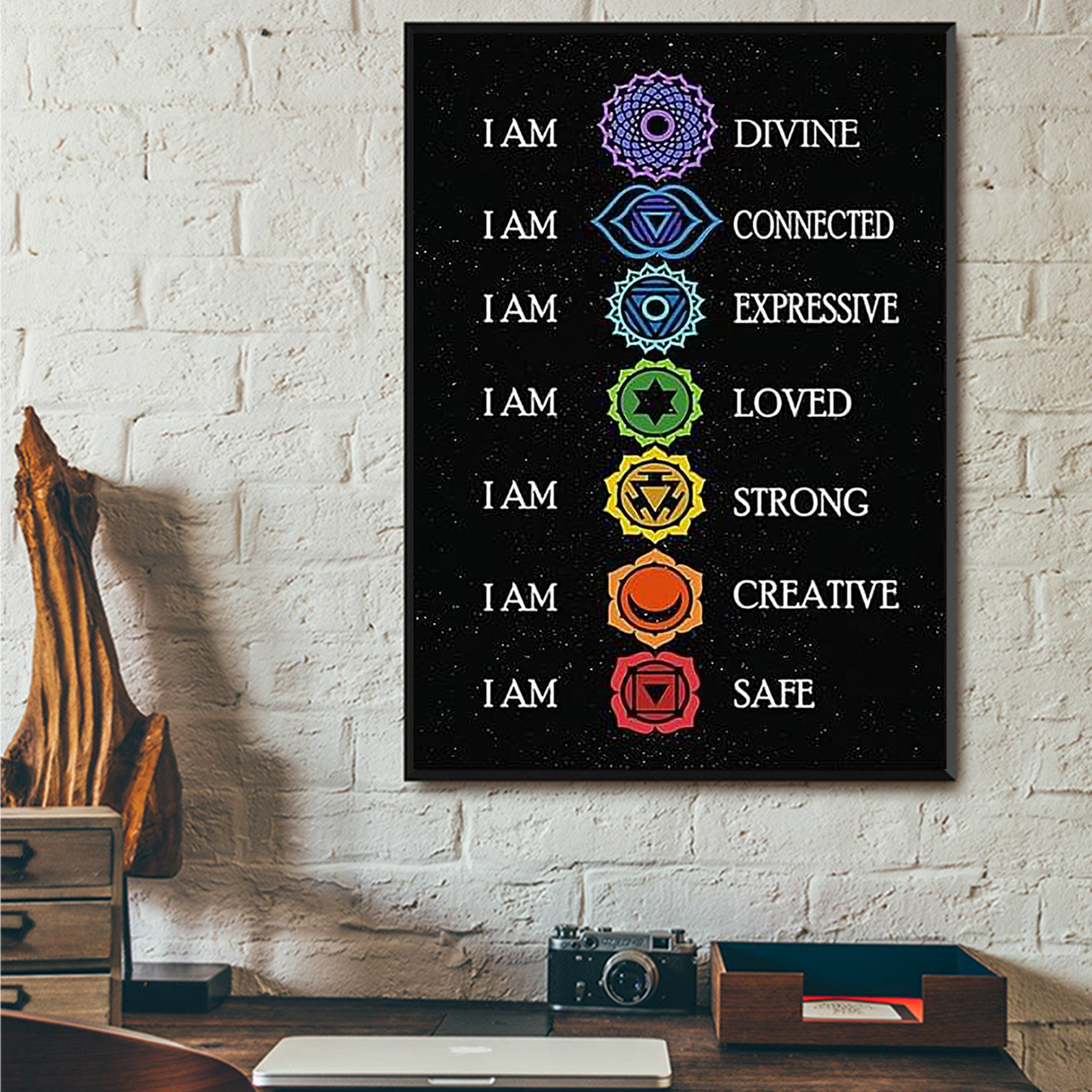 Yoga I am divine I am connected poster A3