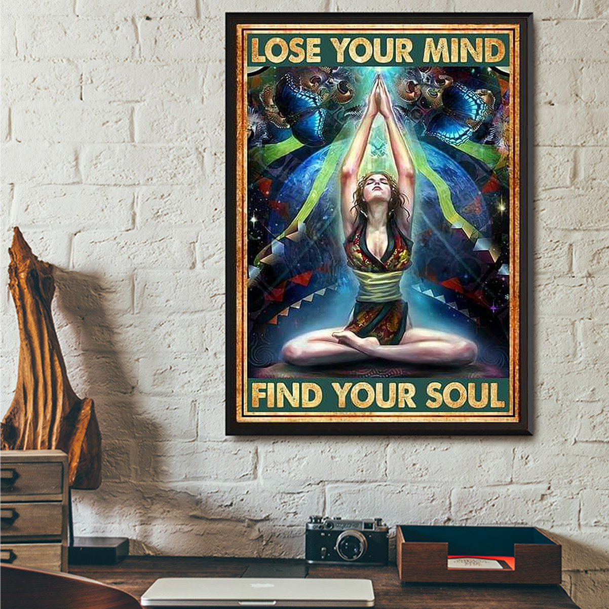 Yoga girl lose your mind find your soul poster A1