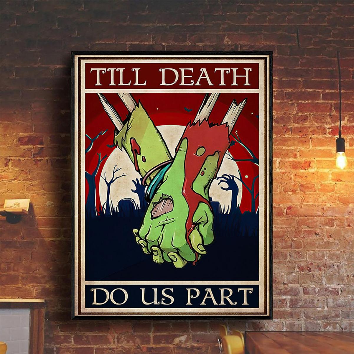 Zombie couple till death do us part poster A2