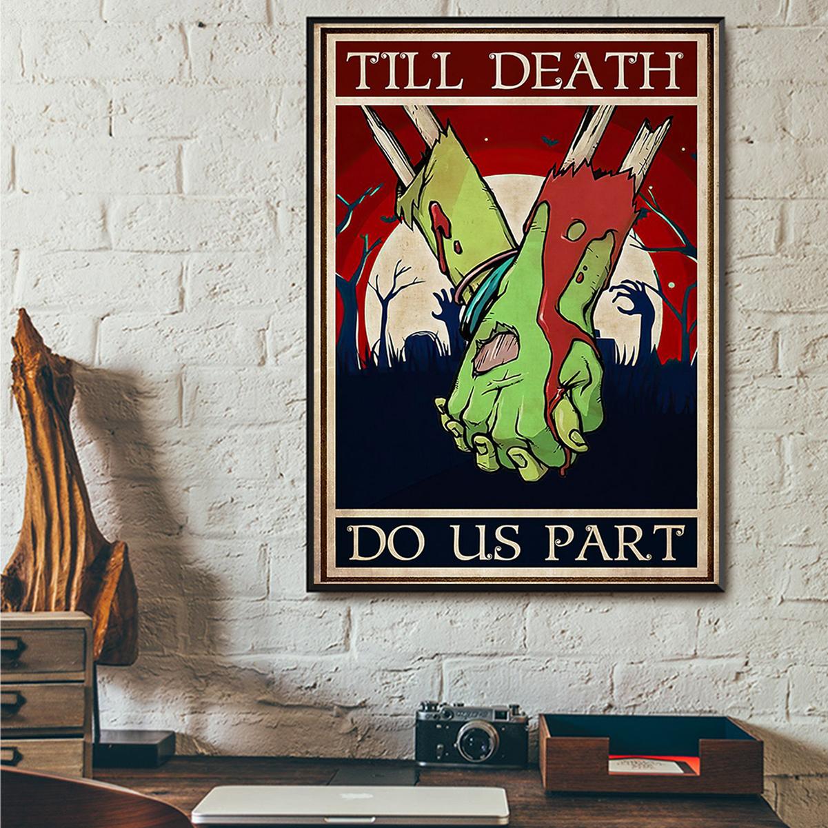 Zombie couple till death do us part poster A3