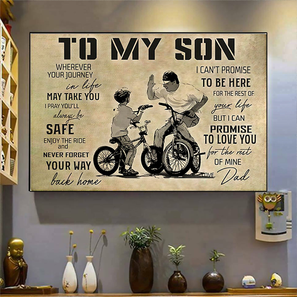 BMX to my son love dad poster A2